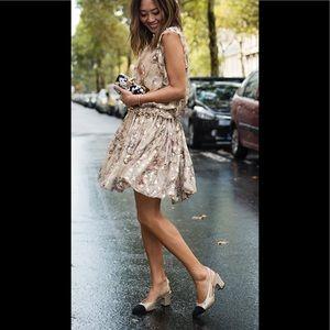 Chanel Gold Black Slingback Pumps w box & dustbag
